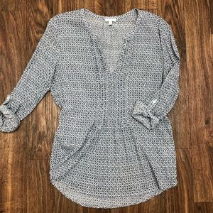 Soft : Joie top, size L. Navy/wht. 100% cotton